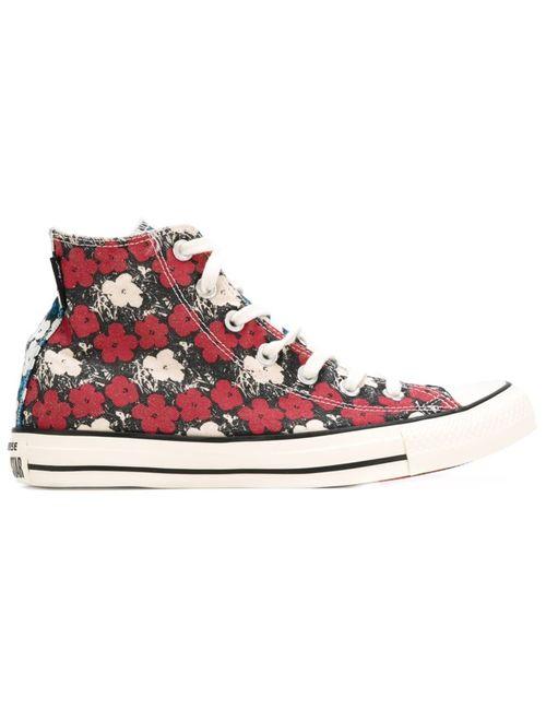 Converse | Женские Красные Высокие Кеды С Цветочным Принтом