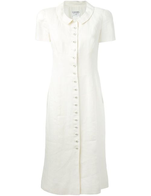 Chanel Vintage | Женское Nude & Neutrals Платье На Пуговичной Планке Спереди