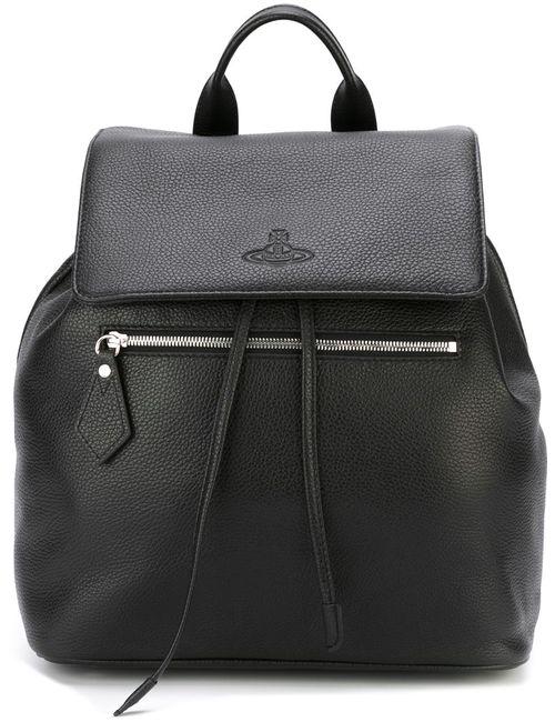 Vivienne Westwood | Мужской Чёрный Рюкзак С Откидным Клапаном