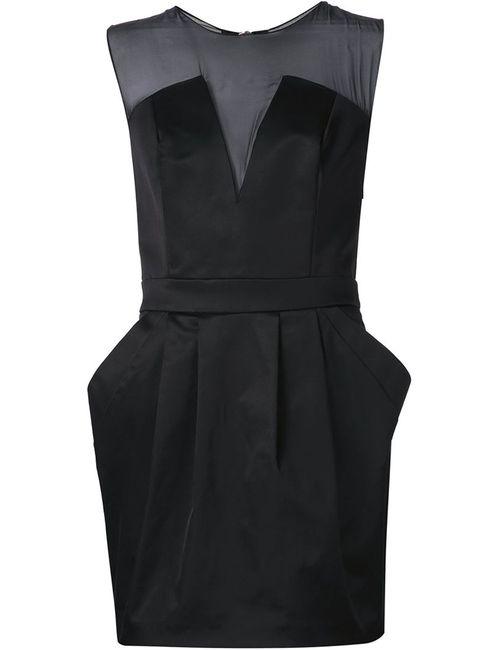 Pierre Balmain   Женское Чёрное Приталенное Полупрозрачное Мини-Платье