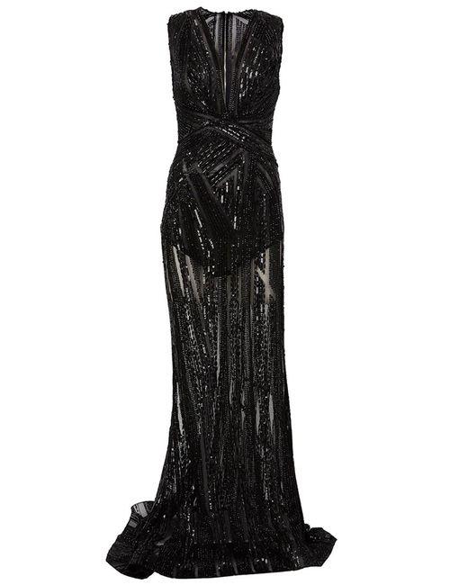 Zuhair Murad | Женское Чёрное Декорированное Вечернее Платье