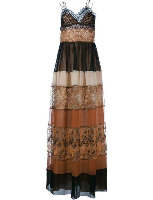 Alberta Ferretti | Женское Многоцветное Платье В Пол С Кружевным Верхом
