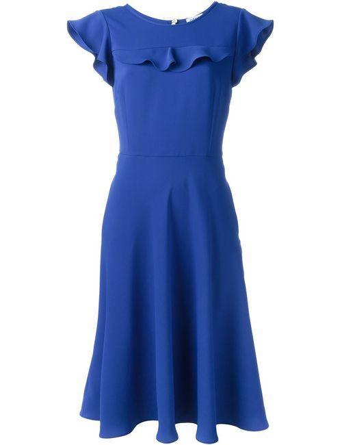 P.A.R.O.S.H. | Женское Синее Платье Миди С Оборками