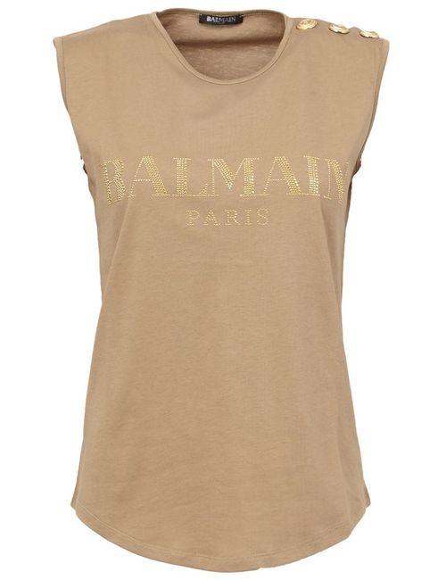 Balmain | Женский Коричневый Топ С Логотипом