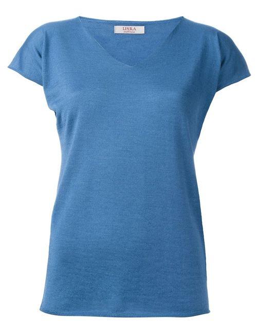 Liska | Женская Синяя Футболка С V-Образным Вырезом