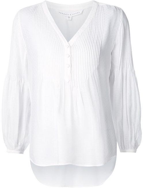 Veronica Beard | Женская Белая Блузка Pierce Pintuck Boho
