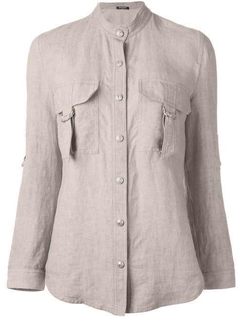 Balmain | Женская Рубашка С Воротником Мандарин