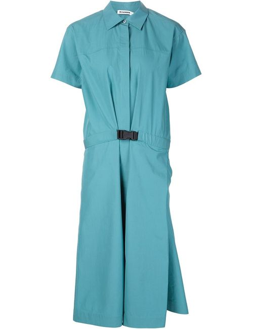 Jil Sander | Женское Синее Платье-Рубашка С Короткими Рукавами