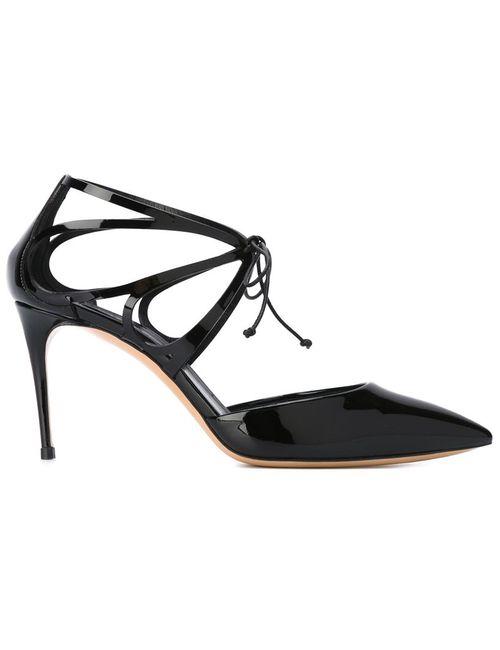 Casadei | Женские Чёрные Туфли На Завязках С Вырезными Деталями