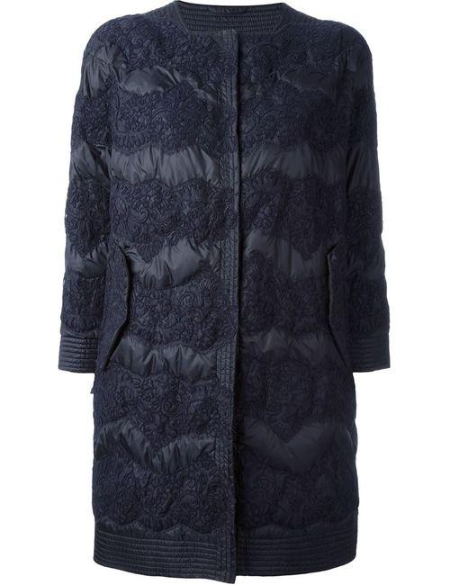Ermanno Scervino | Женское Синее Пальто С Кружевной Отделкой