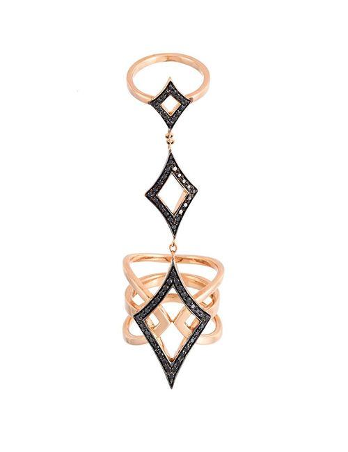 Anapsara | Женское Розовый Double Bar Diamond Ring