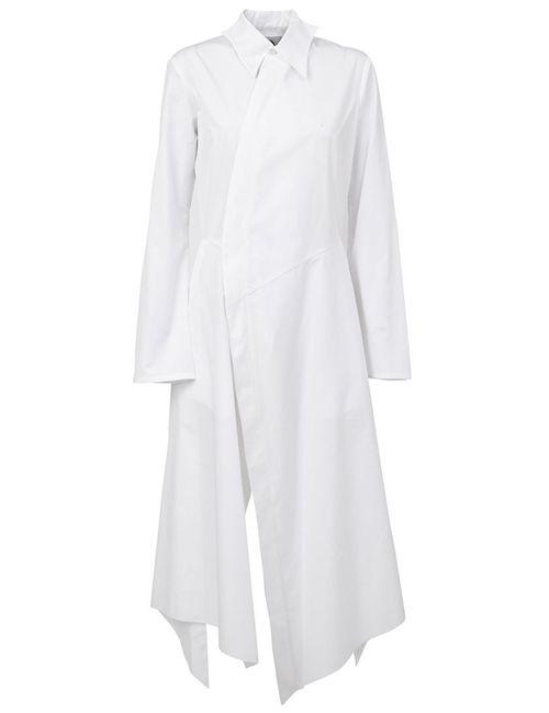 AGANOVICH | Женское Белое Платье-Рубашка Асимметричного Кроя