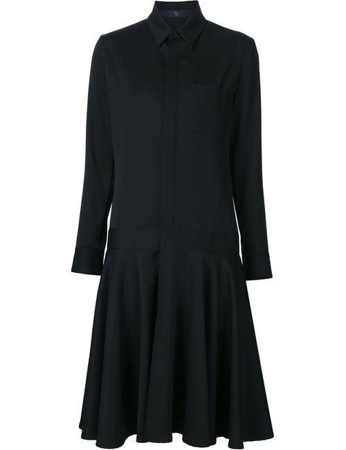Y'S   Женское Чёрное Платье-Рубашка Средней Длины
