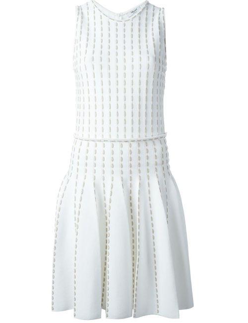 Blugirl | Женское Белое Плиссированное Платье С Вышивкой