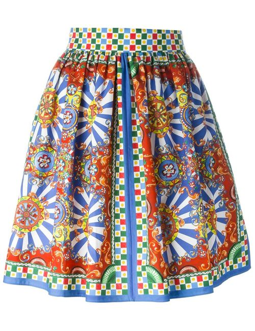 Dolce & Gabbana   Женская Многоцветная Юбка С Принтом Carretto Siciliano