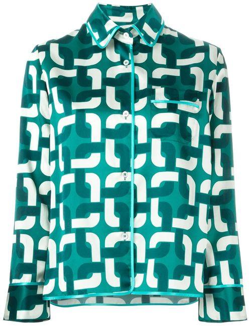 FOR RESTLESS SLEEPERS | Женское Зелёный Geometric Print Pyjama Shirt