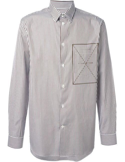 CMMN SWDN   Мужская Коричневая Полосатая Рубашка