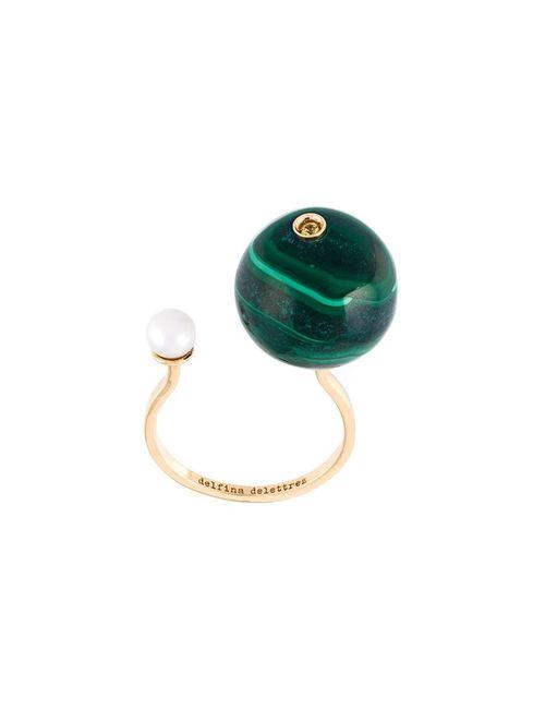 Delfina Delettrez   Женское Серебристый Stone-Edge Piercing Sapphire Ring