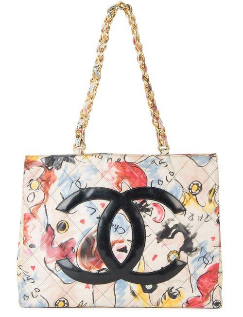 Chanel Vintage | Женская Многоцветная Стеганая Сумка-Тоут С Цепочной Отделкой