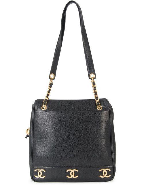 Chanel Vintage | Женская Чёрная Сумка На Плечо Cc С Цепочной Отделкой