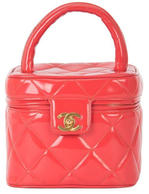 Chanel Vintage | Женский Красный Стеганый Чемоданчик Для Косметики