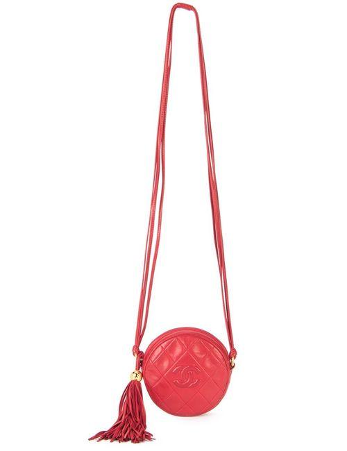 Chanel Vintage   Женская Красная Стеганая Сумка На Плечо С Кисточкой