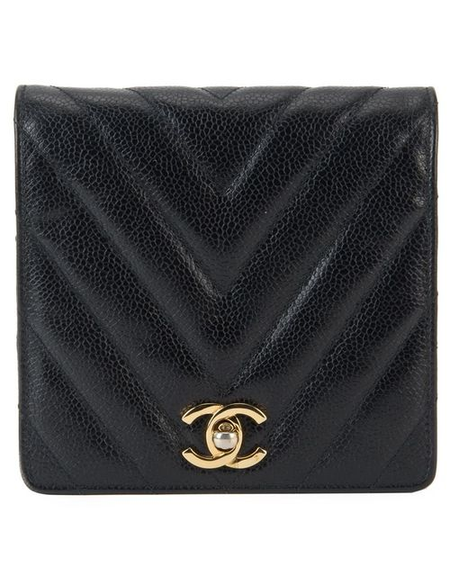 Chanel Vintage | Женская Чёрная Поясная Сумка С Простроченным Узором