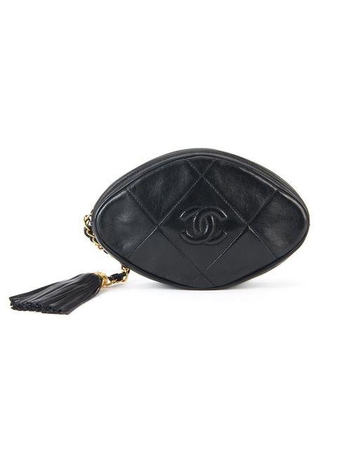 Chanel Vintage | Женская Чёрная Стеганая Сумка С Бахромой