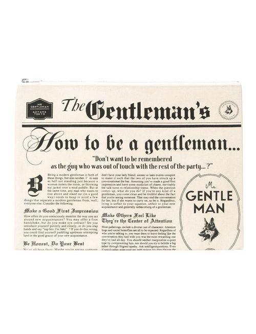 Mr. Gentleman | Мужской Белый Клатч С Принтом Газеты