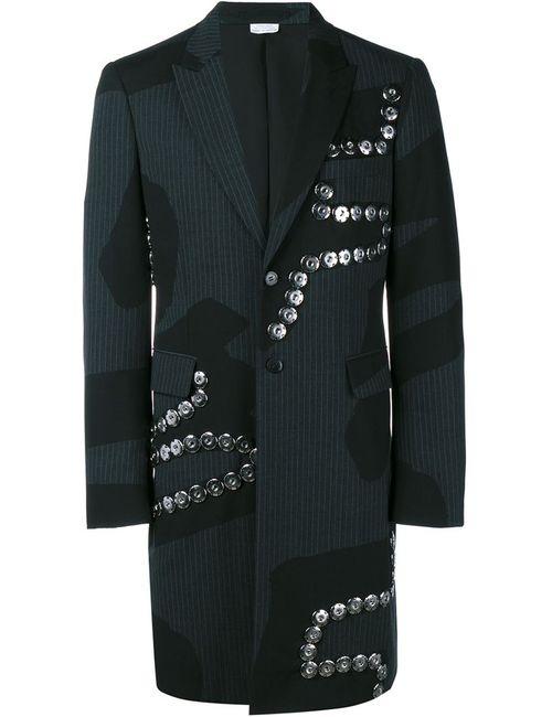 COMME DES GARCONS HOMME PLUS | Мужское Серое Полосатое Пальто С Аппликацией