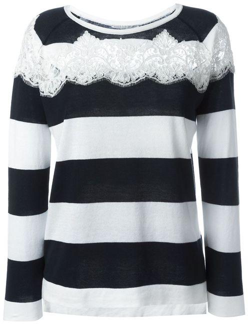 Ermanno Scervino   Женское Белый Lace Panel Stripe Top