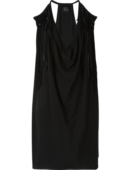 LOST AND FOUND   Женское Чёрное Драпированное Платье С Бахромой