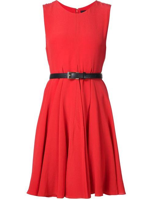 Vera Wang | Женское Красное Платье Без Рукавов С Поясом