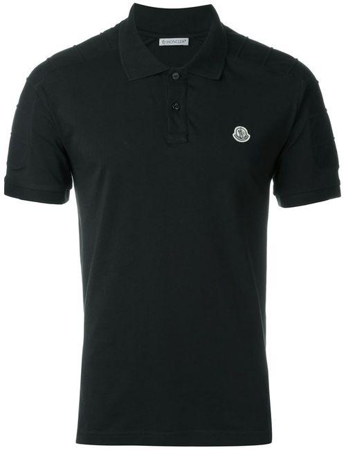 Moncler   Мужская Чёрная Футболка-Поло С Логотипом
