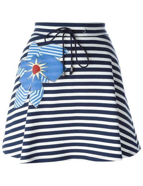 Jil Sander Navy | Женское Синий Flower Appliqué Striped Skirt