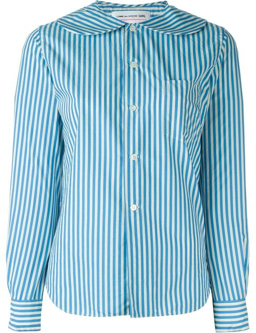 Comme Des Garcons | Женское Синий Peter Pan Collar Striped Shirt