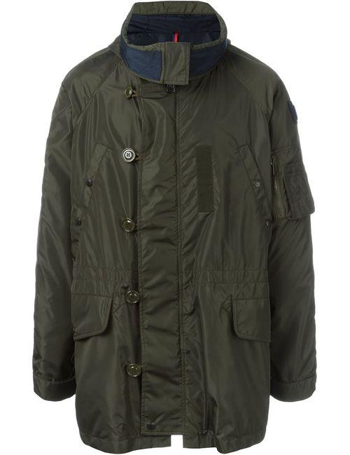 Moncler | Мужское Зелёное Стеганое Пальто С Капюшоном