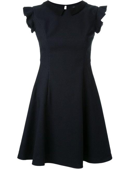 LOVELESS | Женское Синее Расклешенное Платье С Рюшами