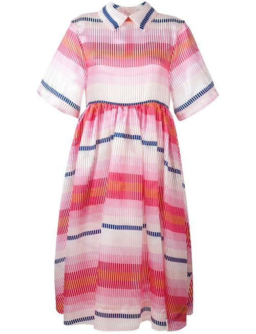 Daizy Shely | Женское Розовый Striped Flared Shortsleeved Dress