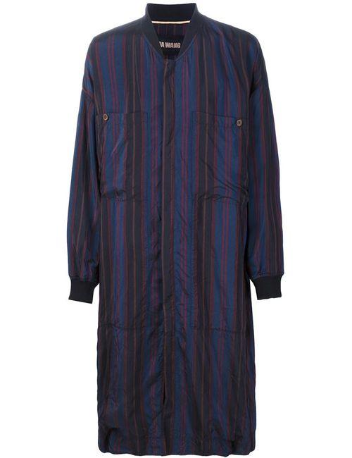 UMA WANG   Мужское Синий Striped Zip Coat