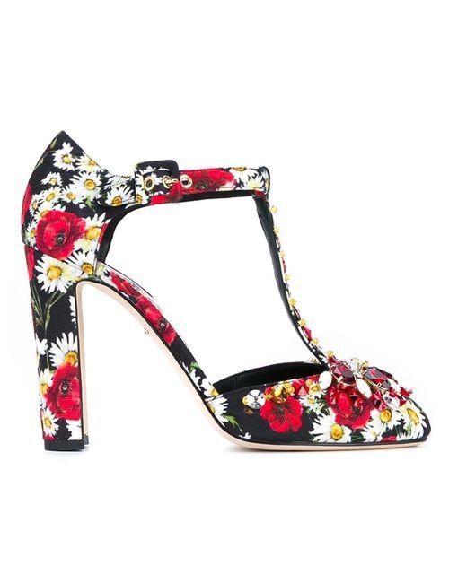Dolce & Gabbana | Женское Многоцветный Embellished Print T-Bar Sandals