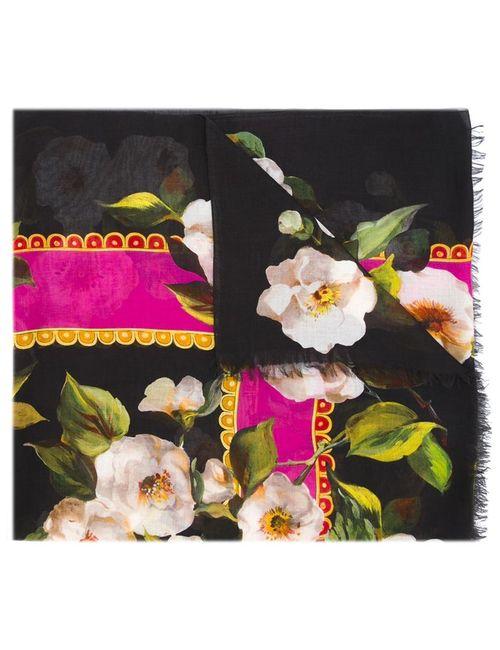 Dolce & Gabbana   Женский Многоцветный Шарф С Цветочным Принтом