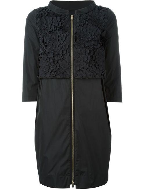 Herno | Женское Чёрное Пальто На Молнии С Цветочной Аппликацией