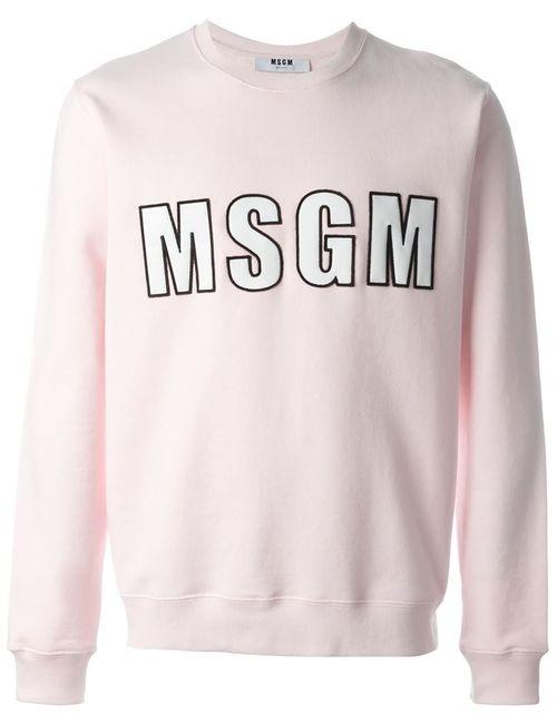 MSGM | Мужское Розовый Logo Print Sweatshirt