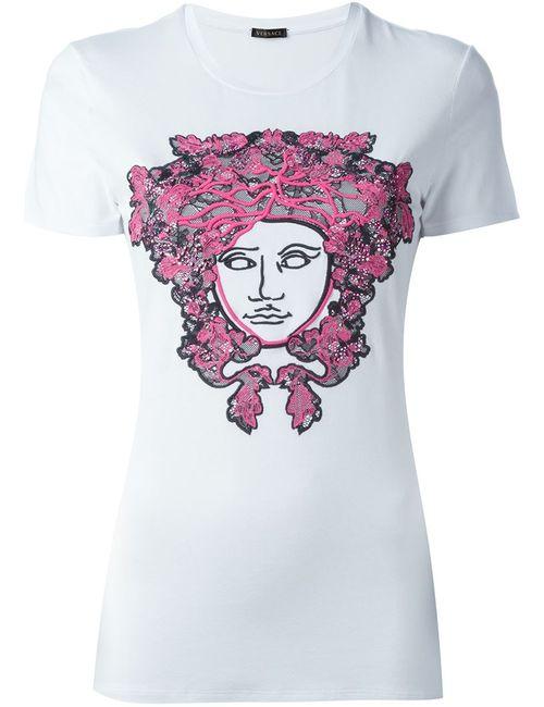 Versace | Женская Белая Футболка С Вышивкой Medusa