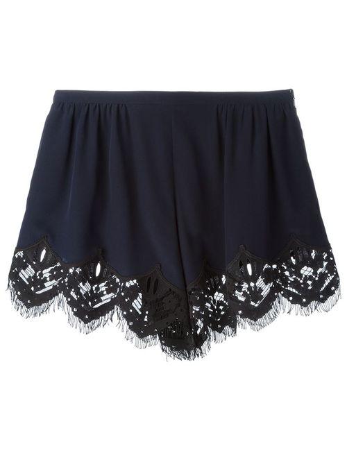 Chloe | Женское Синий Lace Hem Mini Shorts