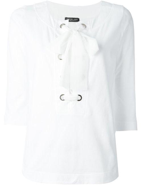 Twin-set | Женская Белая Блузка Со Шнуровкой