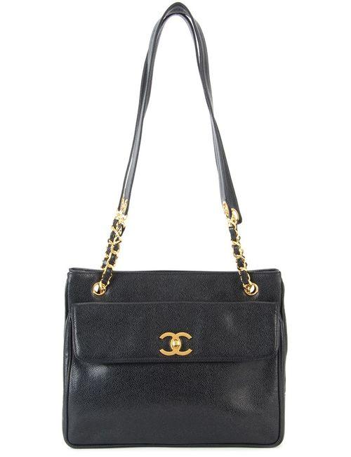 Chanel Vintage   Женская Чёрная Сумка На Плечо С Цепочной Отделкой