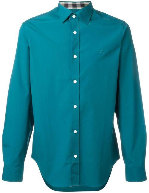 Burberry Brit   Мужская Синяя Классическая Рубашка