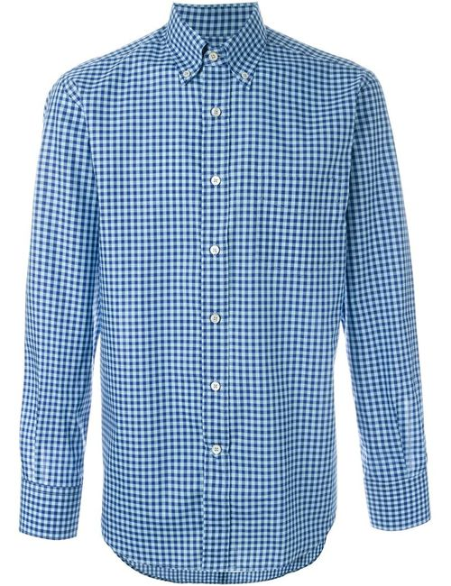 Canali | Мужская Синяя Рубашка В Клетку